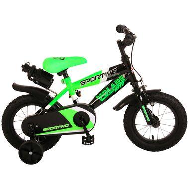 Volare Sportivo Kinderfiets - Jongens - 12 inch - Neon Groen Zwart - 95% afgemonteerd