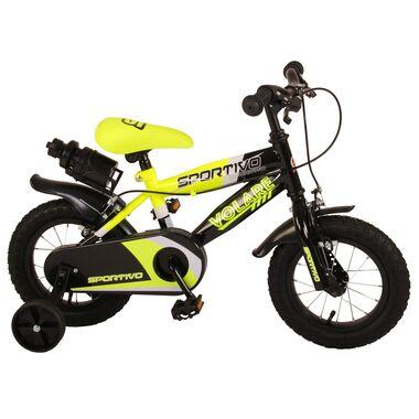 Volare Sportivo Kinderfiets - Jongens - 12 inch - Neon Geel Zwart - Twee Handremmen - 95% afgemonteerd
